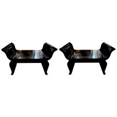 Pair of Midcentury Black Lacquered Benches Attributed to James Mont