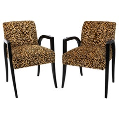 Pair of Midcentury Black Open Armchairs