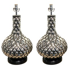 Pair of Midcentury Blown Out Mercury Glass Lamps