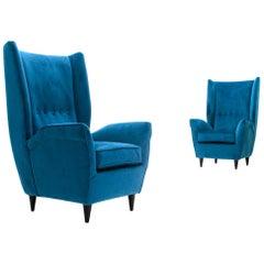 Pair of Midcentury Blue Velvet Italian Wingback Armchair, 1950s