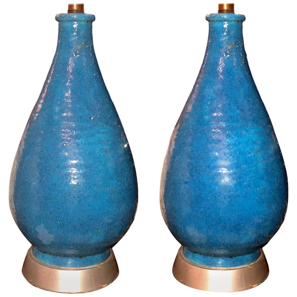Pair of Midcentury Blue Ceramic Table Lamps