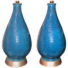 Pair of Midcentury Blue Ceramic Table Lamps