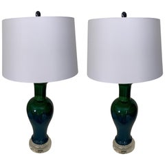 Pair of Midcentury Blue/ Green Drip Glaze Ceramic Lamps