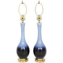 "Pair of Midcentury Blue ""Ombre"" Lamps"