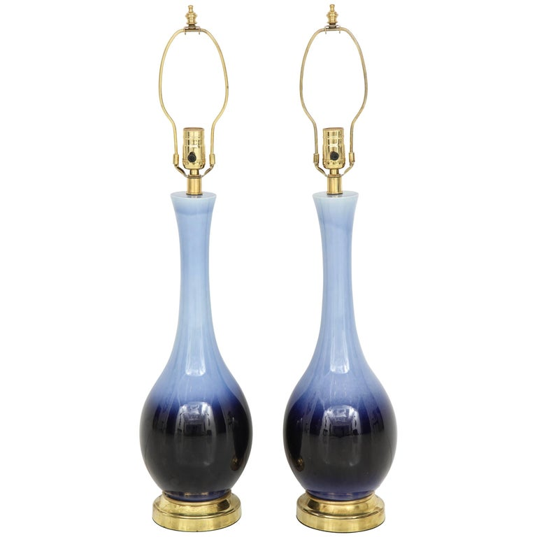 """Pair of Midcentury Blue """"Ombre"""" Lamps For Sale"""