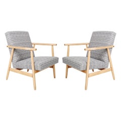 Pair of Midcentury Blue Pixel Armchairs, Beechwood, H.Lis, Poland, 1960s
