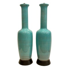Pair of Midcentury Blue Porcelain Lamps
