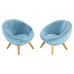 Pair of Midcentury Blue Velvet Circle Club Armchairs, Europe, 1960s