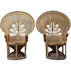 Pair of Midcentury Bohemian Woven Rattan Peacock Chairs