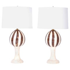 Pair of Midcentury Bone and Coconut Shell Table Lamps