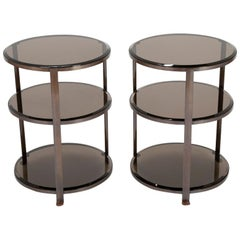 Pair of Midcentury Brass and Beveled Glass Round Side Tables