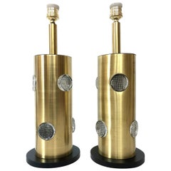 Pair of Midcentury Brass and Glass Danish Table Lamps, 1970s