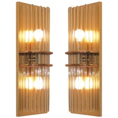 Pair of Midcentury Brass and Glass Wall Sconces, American, 1960s