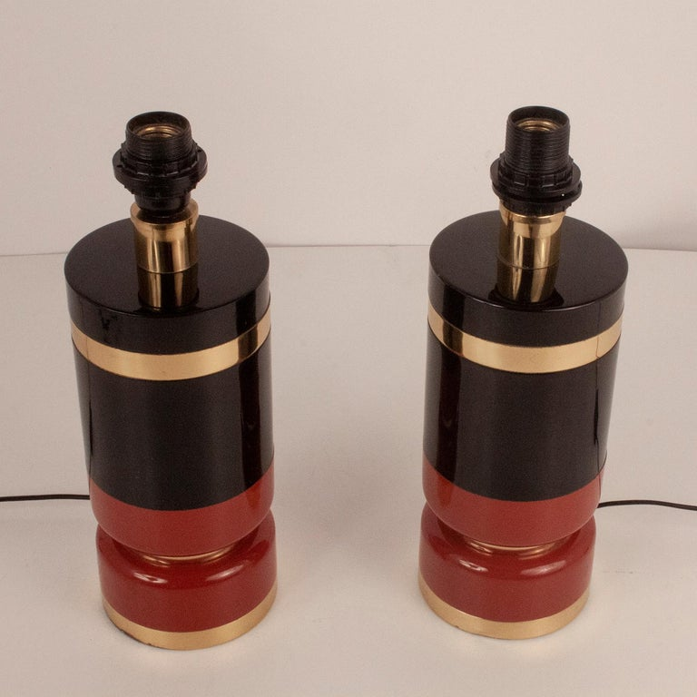 Mid-Century Modern Pair of Midcentury Brass and Lacquered Table Lamps by CLAR, Spain, 1970s For Sale