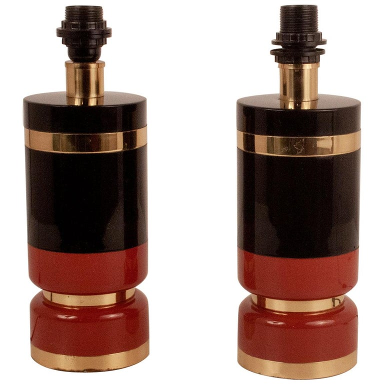 Pair of Midcentury Brass and Lacquered Table Lamps by CLAR, Spain, 1970s For Sale