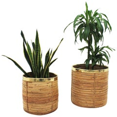 Pair of Midcentury Brass and Rattan Bamboo Round Planters or Baskets, 1970s