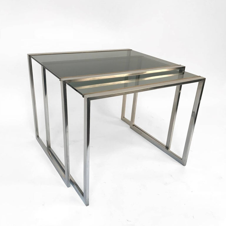 Late 20th Century Pair of Midcentury Brass and Smoked Glass French Nesting Tables, 1970s For Sale