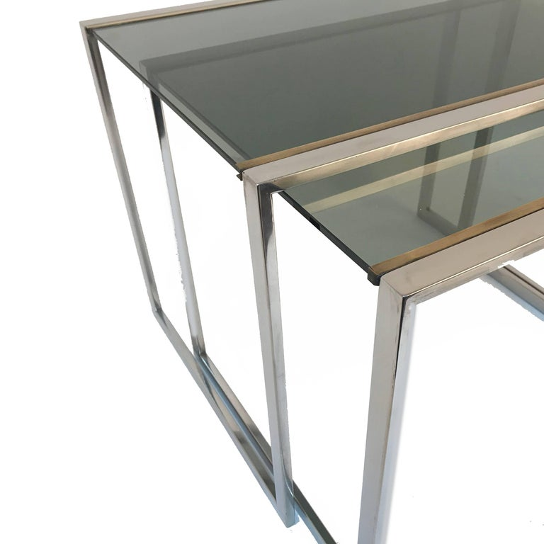 Pair of Midcentury Brass and Smoked Glass French Nesting Tables, 1970s For Sale 1