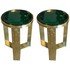 Pair of Midcentury Brass and Thick Glass Accent Tables