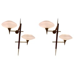 Pair of Midcentury Brass, Brown Faux Leather and Glass Shades Wall Lights
