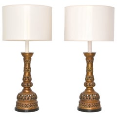 Pair of Midcentury Brass Candlestick Table Lamps