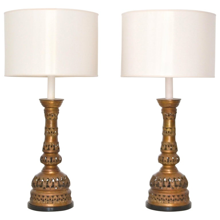 Pair of Midcentury Brass Candlestick Table Lamps For Sale