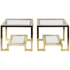 Pair of Midcentury Brass, Chrome and Glass Top Side Tables