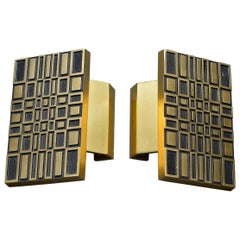 Pair of Midcentury Brass Door Handles Geometric Gold and Black Design, 1970s