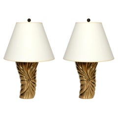 "Pair of Midcentury Brass ""Draped"" Lamps"