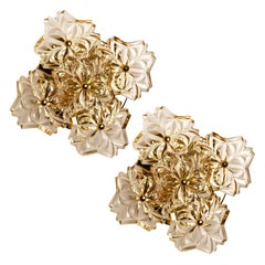 Pair of Midcentury Brass Floral Wall Lights by Hillebrand, 1970s