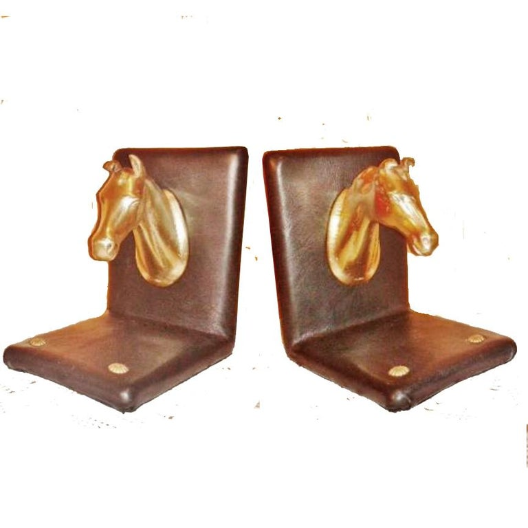 Pair of Midcentury Brass Horse Sculpture and Brown Leather French Bookends For Sale 8