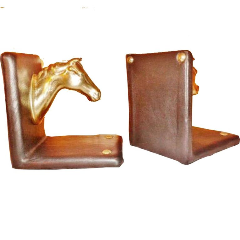 Pair of Midcentury Brass Horse Sculpture and Brown Leather French Bookends For Sale 12