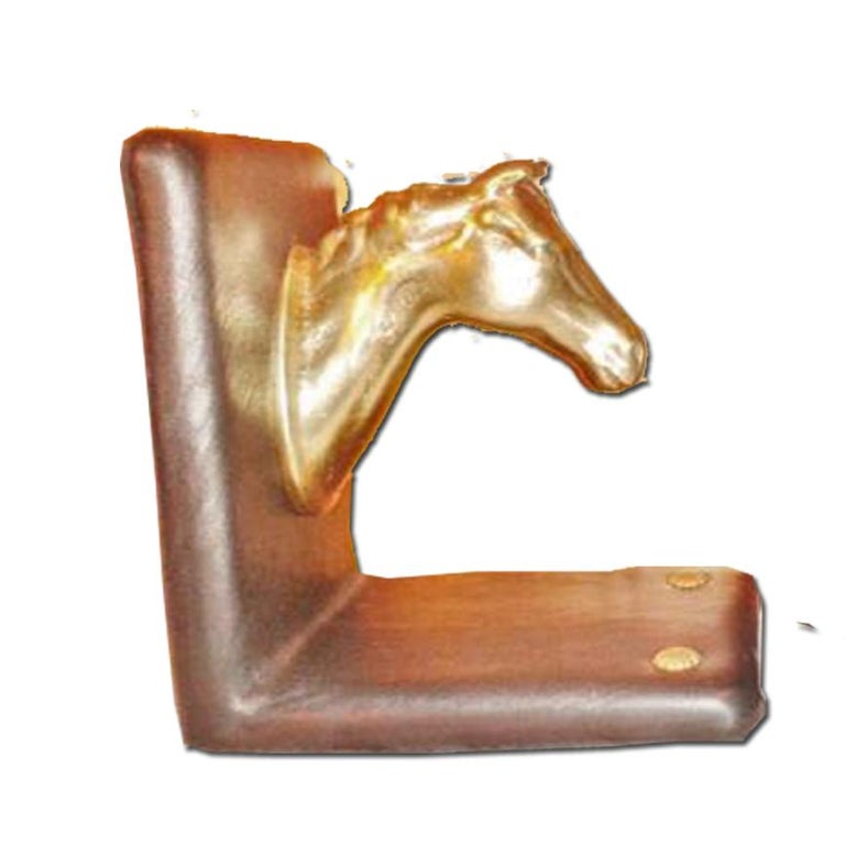 Pair of Midcentury Brass Horse Sculpture and Brown Leather French Bookends For Sale 13