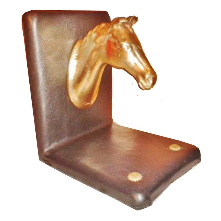Pair of Midcentury Brass Horse Sculpture and Brown Leather French Bookends For Sale 14