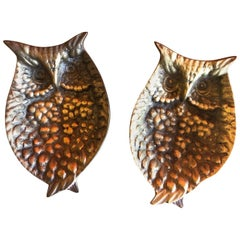 Pair of Midcentury Brass Owl Trinket Dishes