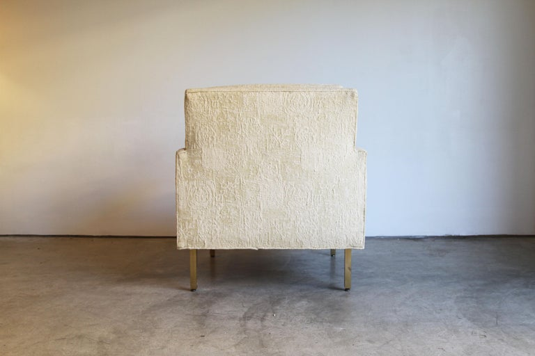 Pair of Midcentury Brass White Lounge Chairs For Sale 5