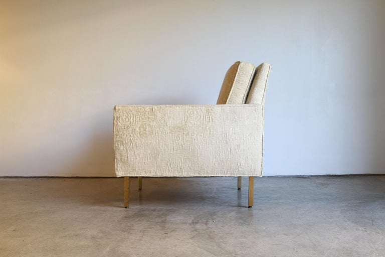 Pair of Midcentury Brass White Lounge Chairs For Sale 3