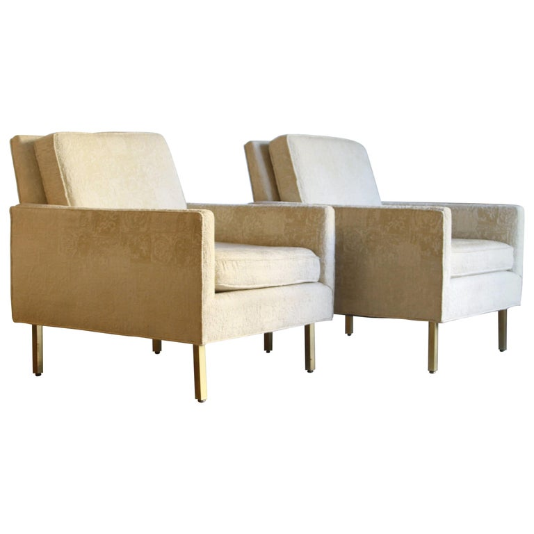 Pair of Midcentury Brass White Lounge Chairs For Sale