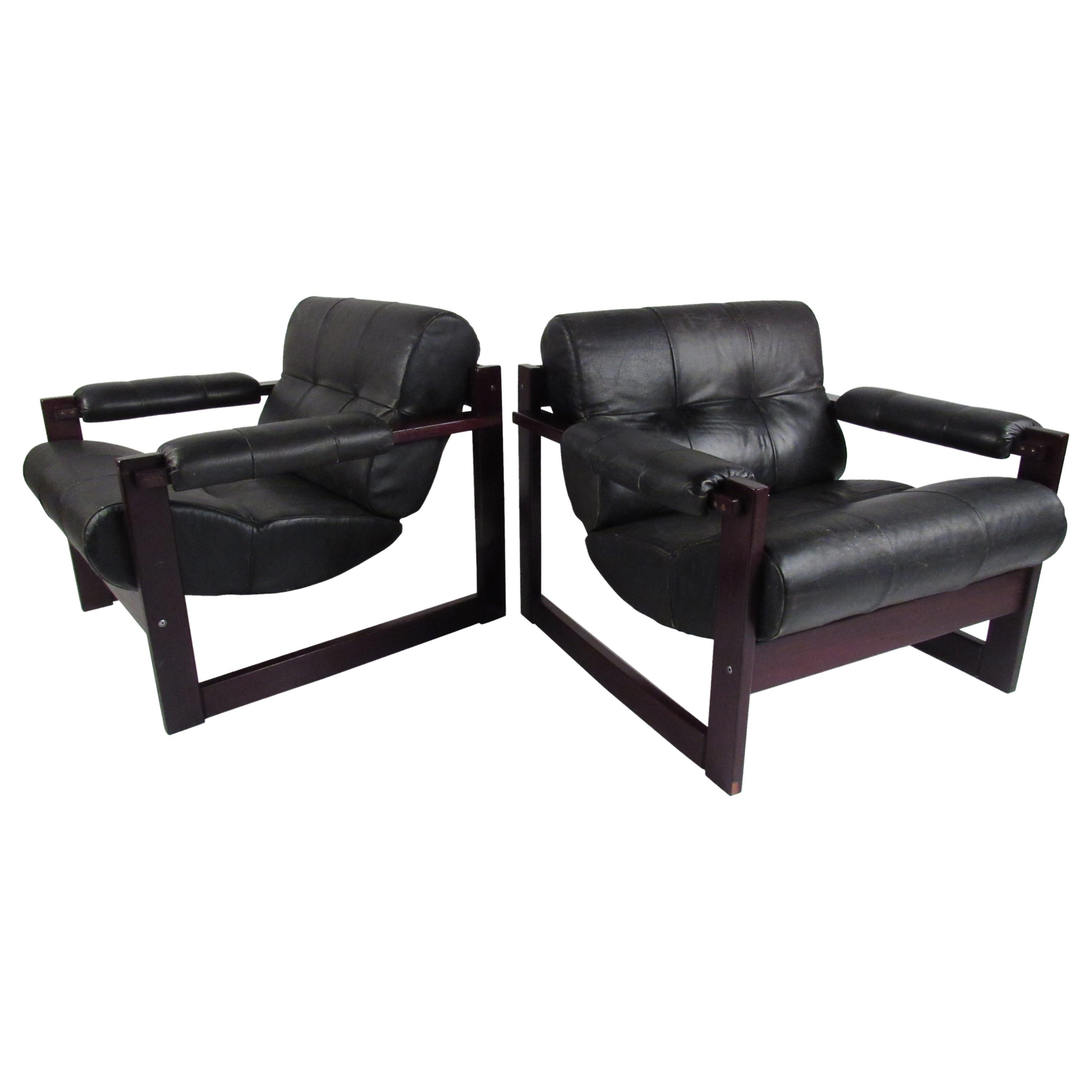 Pair of Midcentury Brazilian Leather Lounge Chairs by Percival Lafer