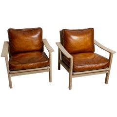 Pair of Midcentury Børge Mogensen Slatted Oak and Deep Leather Armchairs