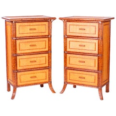 Pair of Midcentury British Colonial Style Faux Bamboo and Grasscloth Chests
