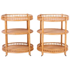 Pair of Midcentury British Colonial Style Stands or Carts