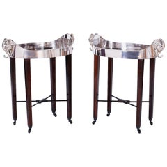 Pair of Midcentury British Colonial Tray Tables with Elephant Head Handles