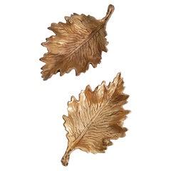 Pair of Midcentury Bronze Leaf Trinket Trays, Italy