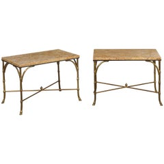 Pair of Midcentury Bronze Low Side Tables with Marble Tops and Faux-Bamboo Bases