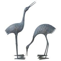 Pair of Midcentury Bronze Storks with Verdigris Patina