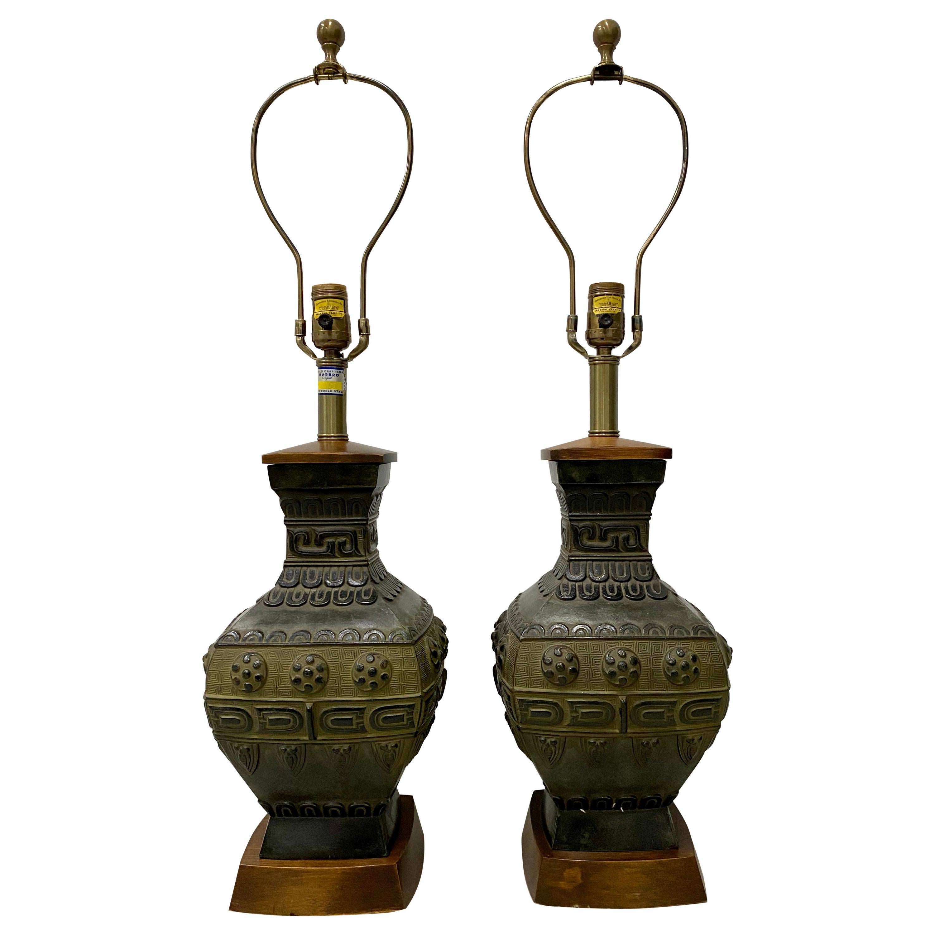 Pair of Midcentury Bronze Urn Lamps by Marbro, circa 1950