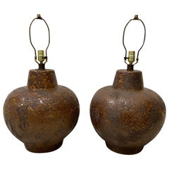 Pair of Midcentury Brown Lava Glaze Table Lamps, circa 1970