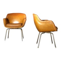 Pair of Midcentury Brown Leather Armchairs in the Style of Arne Jacobsen, 1960s