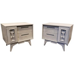 Pair of Midcentury Brutalist/Memphis Nightstands with Faux Concrete Finish